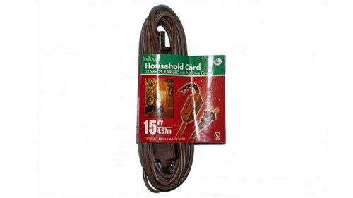 15 Foot Brown 3 Outlet Extension Cord