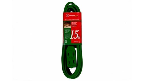 15 Foot Green 3 Outlet Extension Cord