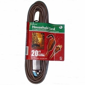 20 Foot Brown 3 Outlet Extension Cord