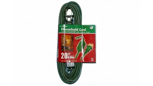 20 Foot Green 3 Outlet Extension Cord