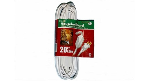 20 Foot White 3 Outlet Extension Cord