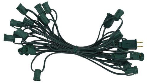 C7 25-Foot Light String Green Wire