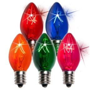 C7 Transparent Twinkle Multi Color Replacement Bulbs