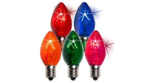 C7 Incandescent Transparent Twinkle Multi Color Replacement Bulbs