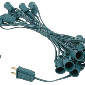 C9 25-Foot Light String Green Wire
