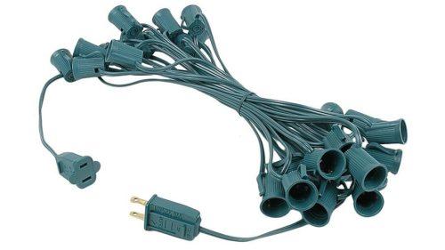 C9 25-Foot Light String Green Wire