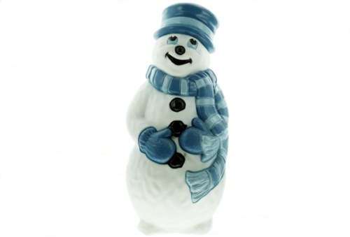 Grand Venture Snowman with Light Blue and Dark Blue Scarf Christmas Blow Mold