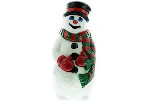 Grand Venture Snowman with Red and Green Scarf Christmas Blow Mold
