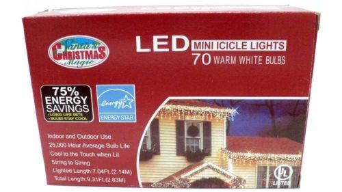 LED Warm White Icicle Lights
